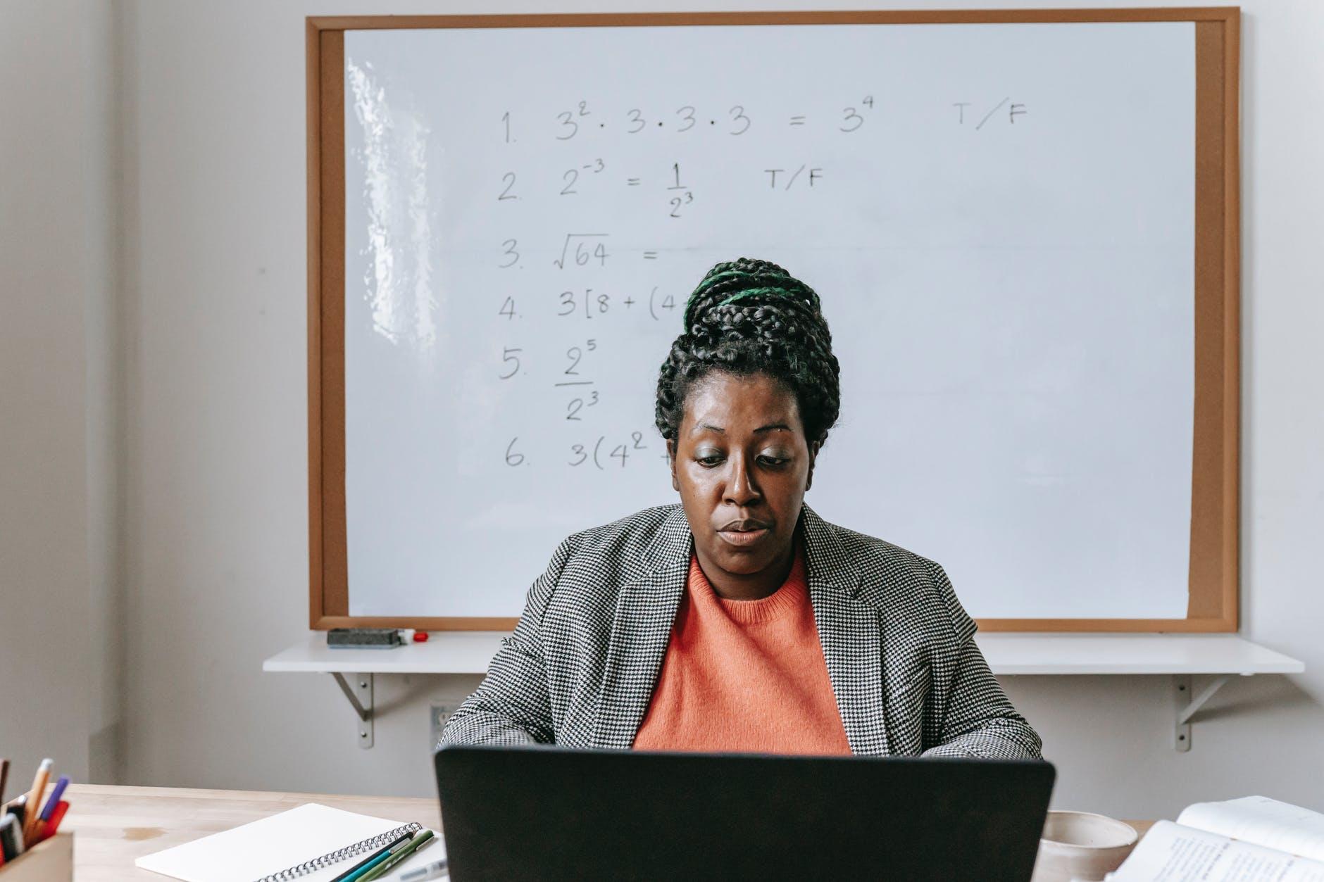 Black woman working on desk