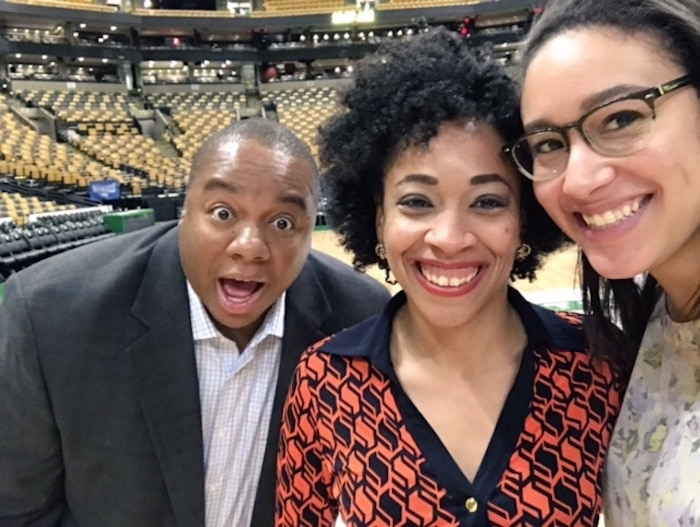 Ava Wallace 2 (far right) The Post's Wizards beat writer Candace Buckner, Post columnist Jerry Brewer, Covering Game 7 of Eastern Conference semifinals between Washington Wizards & Boston Celtics @ TD Garden Mond