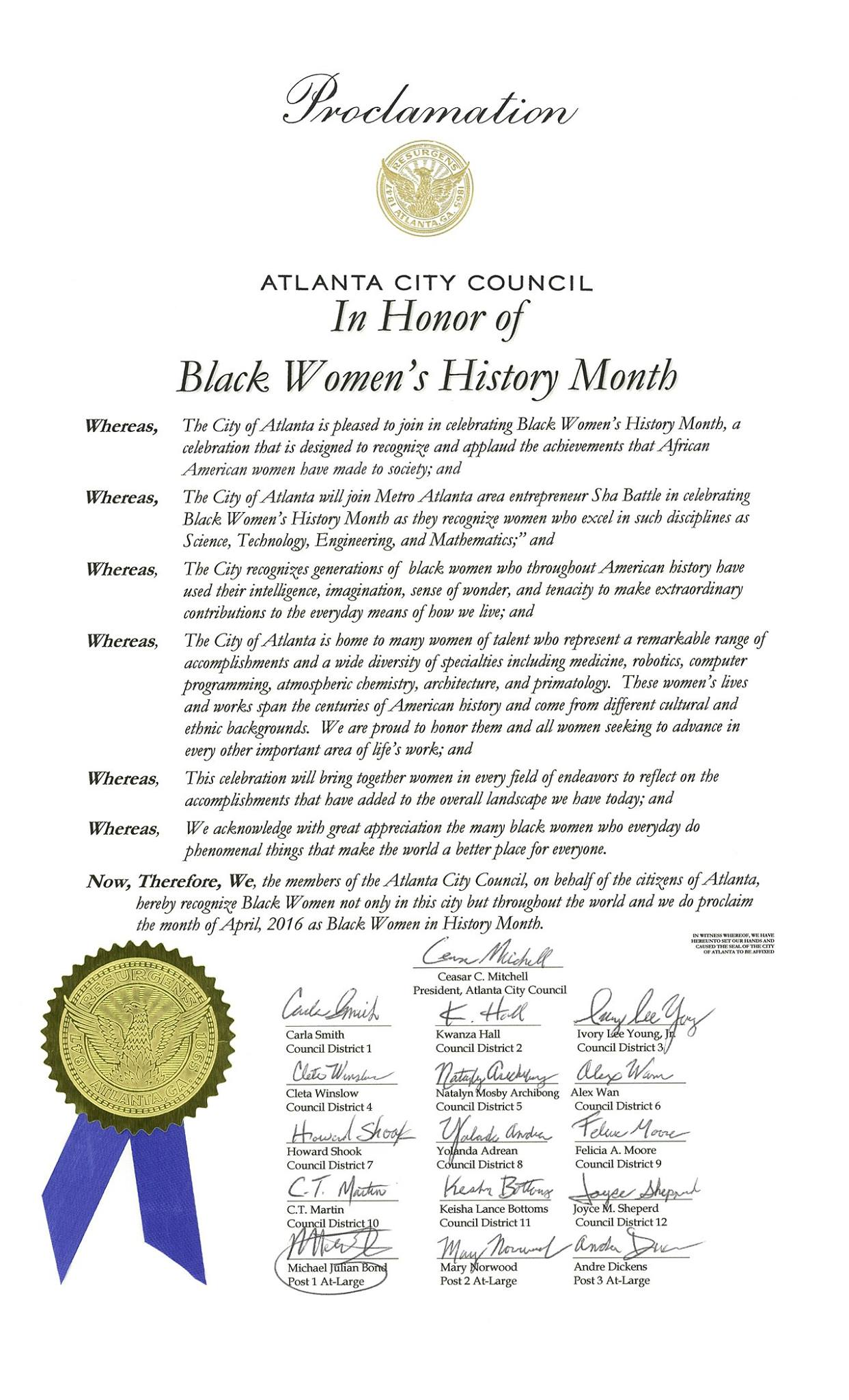 Black Womens History Month Proclamation