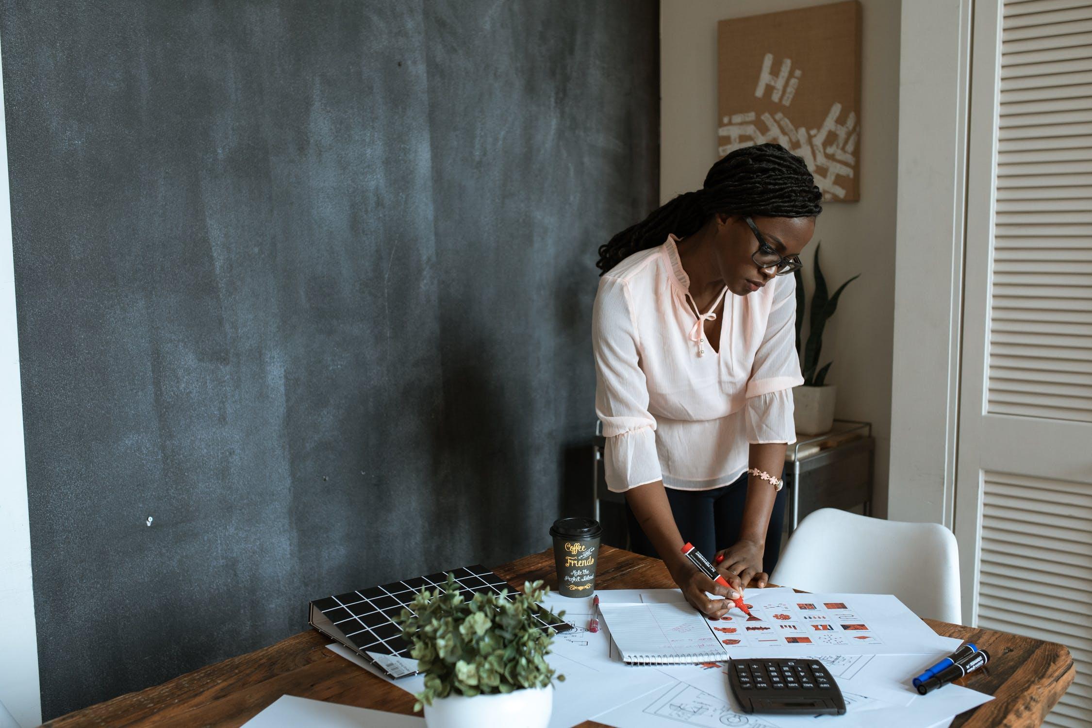 Black woman working