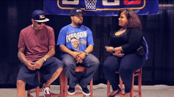 Maya A-05806. Jones Interviews Allen Iverson and Ice Cube 2017, for ESPN at the Wells Fargo Center