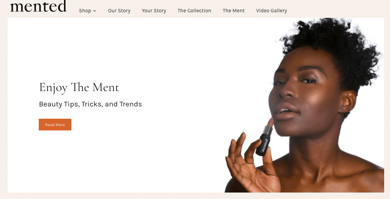 Mented cosmetics website