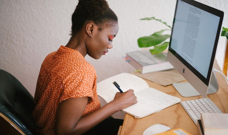 african-american-woman-working-studying