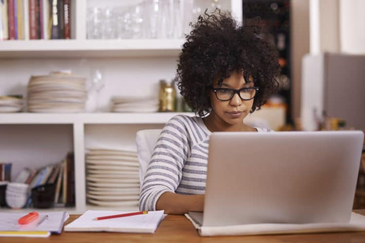 Black woman researching