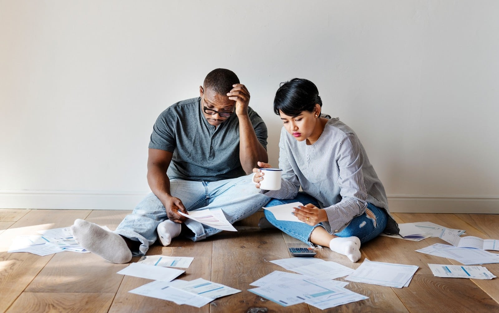 couple reviewing bills together