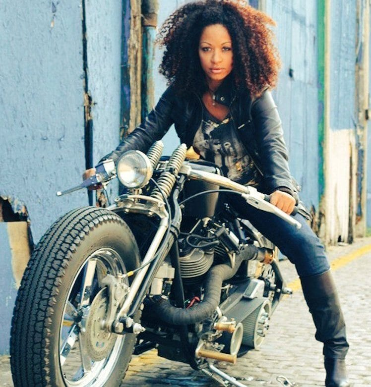 black woman riding motorcycle bike