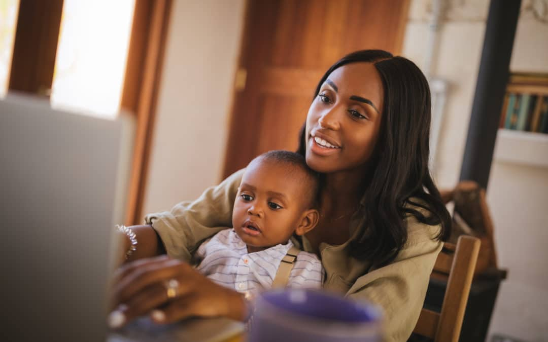 black-woman-with-baby-working