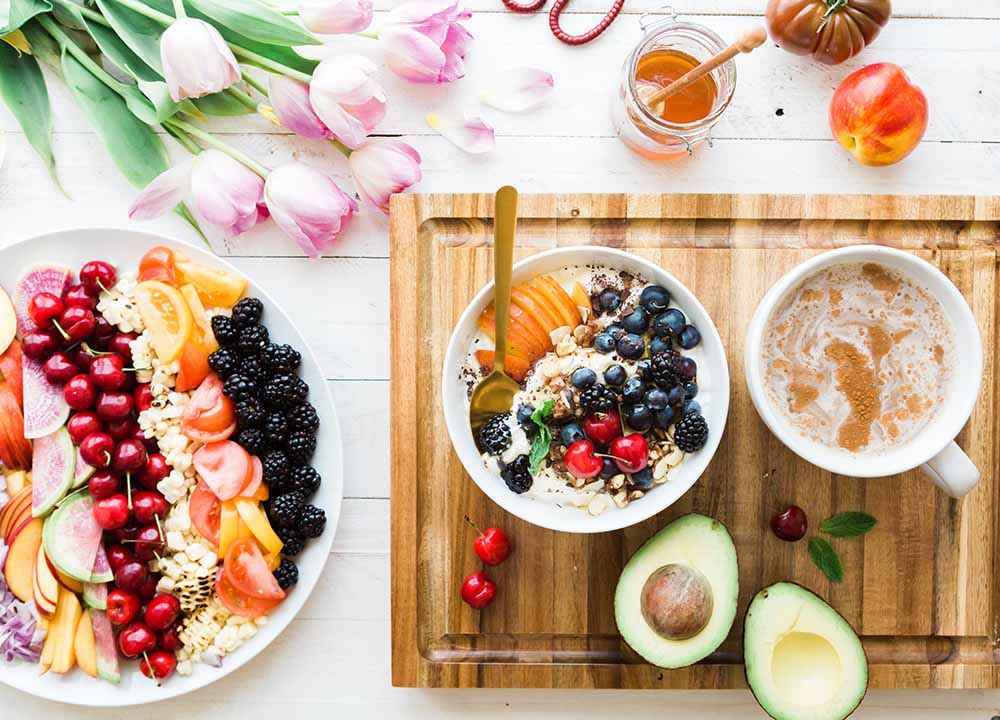 bowls of oatmeal, avocado, breakfast diet