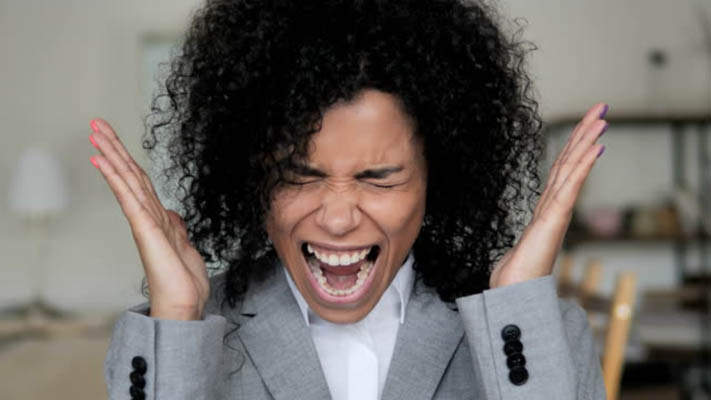 frustrated black woman finances bankruptcy