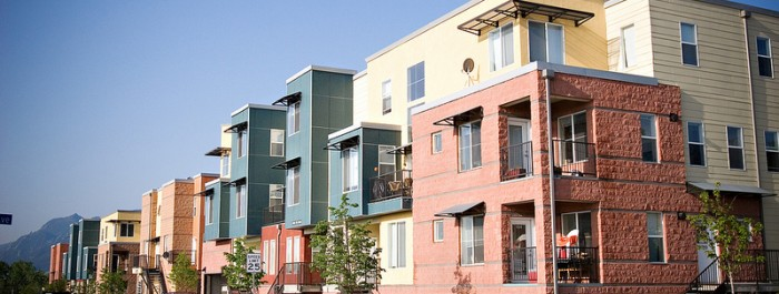 row of colorful apartments