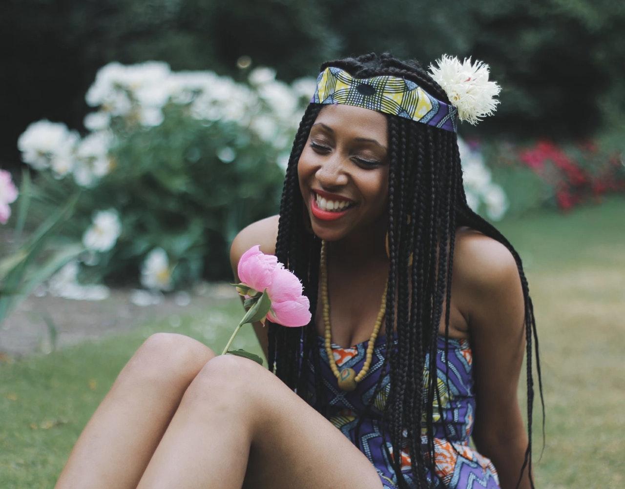black woman smiling happy