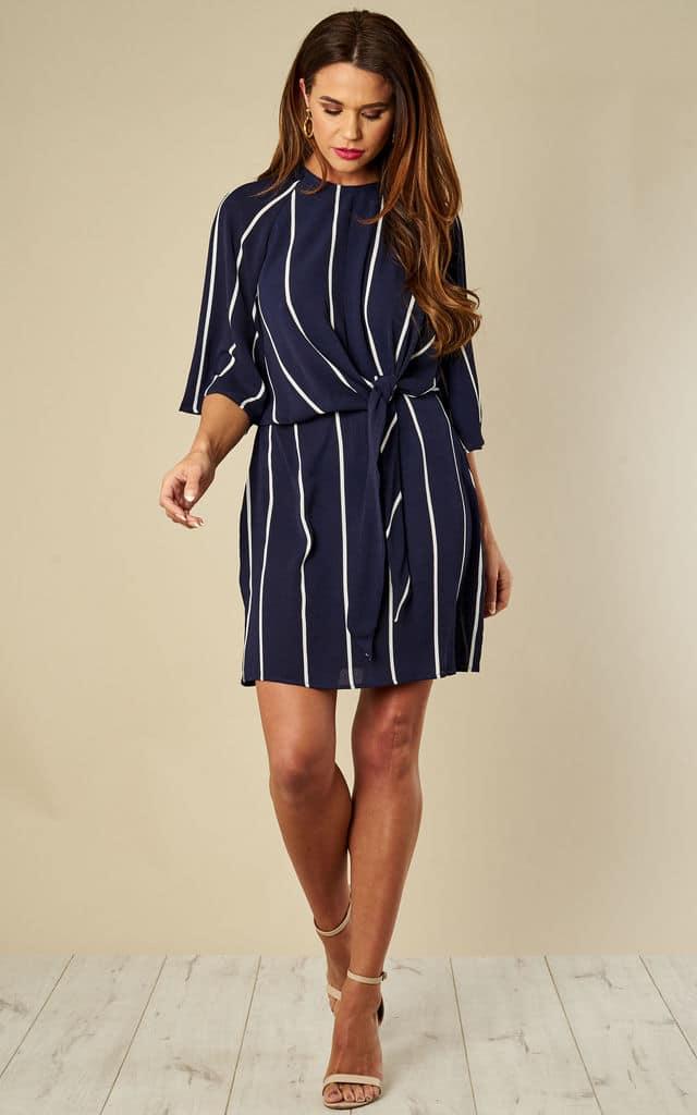 silkfred Navy Striped Tie Waist Mini Dress